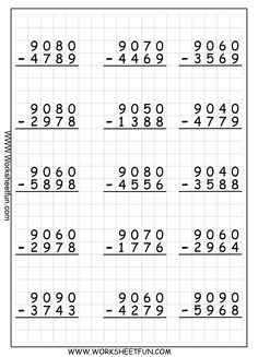 math worksheet : addition with regrouping worksheetsi love that they are on grid  : Subtraction Borrowing Worksheets