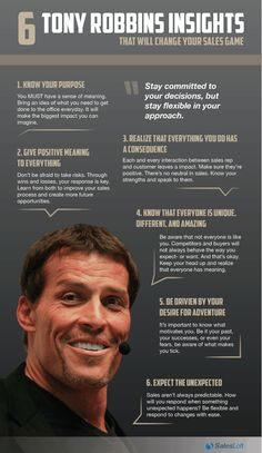 6 Sales Insights from thought leader Tony Robbins #infographic http://www.brucebugbee.com/