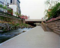 View Towards Ogansugyo Bridge, Facing West, Cheonggyecheon, Seoul, 20/04/2008, 6.12 (pink)