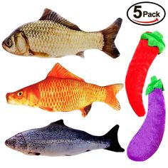 EETOYS Cat Catnip Toys, Cat Toy Set 5 Pack Fish Catnip Toys Plush Stuffed Interactive Salmon Cat Toy Pillow Chew Bite Kick Supplies Cat Kitten Kitty *** For more information, visit image link. (This is an affiliate link) Salmon Cat, Bed Mats, Catnip Toys, Cats And Kittens, Pet Supplies, Kicks, Plush, Pillows, Image Link