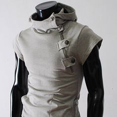 Mens casual buckle zipper slim hoodie
