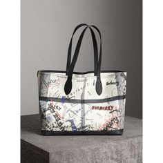 0e3c3121af17 BURBERRY The Medium Doodle Tote in Coated Check Canvas.  burberry  bags   leather