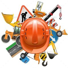 Road Construction Concept with Helmet by dashadima Folder include Ai and JPG files. Ai files can edit in Adobe Illustrator and CS. Road Co Graphic Design Posters, Graphic Design Inspiration, Civil Engineering Logo, Labour Day Wishes, Road Vector, Engineers Day, Automotive Shops, Oil Platform, Illustrator Cs5