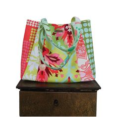 summer colors MANGO MOJITO / medium tote by jennjohn on Etsy, $69.00