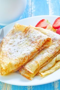 Basic Crepes: 1 C. all-purpose flour; 2 eggs; 1⁄2 C. milk; 1⁄2 C. water; 1⁄4 t. salt; 2 T. butter, melted. Whisk together flour + eggs. Gradually add milk and water, stirring to combine. Add salt and butter; beat until smooth. Refrigerate 1 hour or overnight. Heat lightly oiled pan over medium-high heat. (sweet crepes, add 2 tsp sugar to the mix.) Leftover crepes may be stored in the fridge sealed in a ziplock bag with wax paper between each crepe
