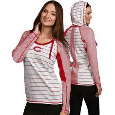 Cincinnati Reds Women's Zeal Long Sleeve Hooded Tee by Antigua