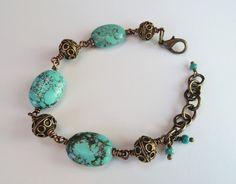 Turquoise and Brass Victorian Bracelet – Beth Lerner Jewelry http://bethlernerjewelry.com/collections/bracelets/products/turquoise-and-brass-victorian-bracelet