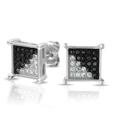 Bling Jewelry Mens Black and White Micropave CZ Square Stud Earrings 925 Silver 8mm Bling Jewelry. $26.99. Weighs 2.4 Grams. For Pierced Ears ONLY. 8mm Width. .925 Sterling Silver, Cubic Zirconia. Mens Square Stud Earrings
