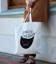 Crazy Cat Lady lined cotton tote bag by ZanaProducts on Etsy, $20.00