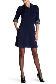 Image of Max Studio Rolled Sleeve Cowl Neck Shift Dress