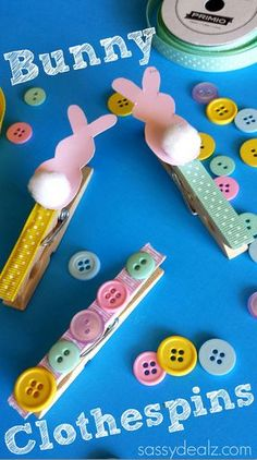 Bunny Clothespin Easter Craft Using Paint Samples #DIY #Cheap Easter craft for kids to make! | http://CraftyMorning.com