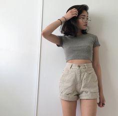 Asian fashion   High waisted short   Crop top   Short hair   Summer style   Idea…