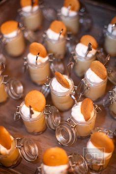 banana pudding wedding dessert, mason jar holder for wedding, mason jar wedding decor