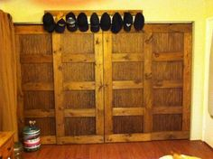 bypass closet doors- pine & bead board with danish oil finish (look up cost/availability in UT of bead board)