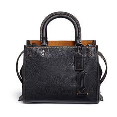 Coach 1941 'Rogue 25' glovetanned leather satchel ($920) ❤ liked on Polyvore featuring bags, handbags, black, genuine leather purse, real leather purses, leather bags, over the shoulder purse and real leather handbags