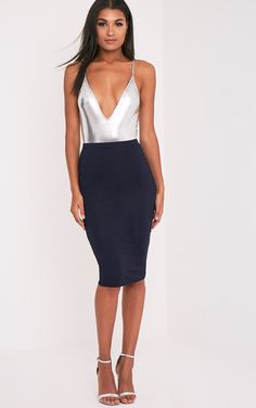 Basic Navy Jersey Midi Skirt Image 1