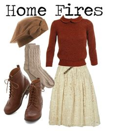 """1940s // home fires inspired"" by onceuponanovel ❤ liked on Polyvore featuring River Island, Jil Sander and Bamford"
