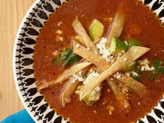 Classic Tortilla Soup Recipe   Marcela Valladolid   Food Network Authentic Chicken Tortilla Soup, Italian Chicken Soup, Tortilla Soup Recipe Food Network, Food Network Recipes, Mexican Made Easy, Mexican Sour Cream, Tuscan Bean Soup, Fire Roasted Tomatoes, Soup Recipes