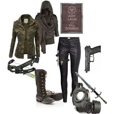 Here is Apocalypse Outfit Pictures for you. Zombie Apocalypse Outfit, Apocalypse Fashion, Zombie Apocalypse Survival, Spy Outfit, Badass Outfit, Walking Dead Clothes, Look Fashion, Fashion Outfits, Post Apocalyptic Fashion