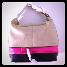 "Diane Von Furstenberg Mandy Bag Colorblocked leather bag in beige, navy, and neon pink. Navy is basically indistinguishable from black. Has zip-around detail. 13"" x 16"" x 5"" with a 5"" drop (approx). New with tags. Great pop of neon that can be hidden by the zipper! Diane von Furstenberg Bags"
