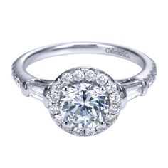Baguette White Gold Diamond Engagement Mounting