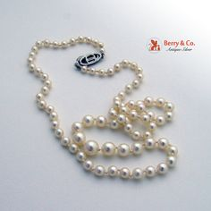 Princess Pearl Strand Necklace Fishhook Sterling by BerrysGems