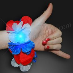 Light Up Bracelets | Red White and Blue Light Up Hawaiian Leis Bracelets and more fashion accessories!