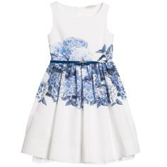 Girl's sleeveless dress by Monnalisa Chic, made from woven cotton with a blue hydrangea print. It has a fitted bodice, a scooped neckline and a concealed zip fastening at the back. It is fully lined and has a double tulle frill, giving it a full shape. The dress has an adjustable synthetic leather navy blue belt with a bow at the front.<br /> <ul> <li>Dress & Lining: 100% cotton (very fine, woven feel)</li> <li>Machine wash (30*C)</li> <li>Tulle: 100% polyester</li> <li>True to size fitt...
