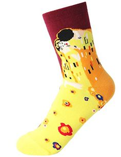 Zando 4 Pairs Women Fashion Cotton Famous Collection Painting Crew Socks Art Printed Funny Casual Socks - New Dresses Special Today