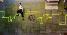 The Amazing Optical Illusion Street Art Of Aakash Nihalani Nihalani uses only paper tape and, occasionally, cardboard.