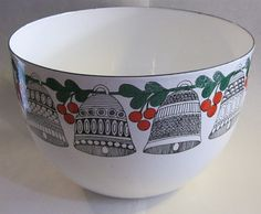 Arabia Enamel Bowl Bells and Berries Kaj Franck large by prWhimsy, $95.00