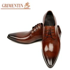 Hot Sale Luxury Men Dress Shoes Handmade Genuine Leather Lace Up Black Brown…