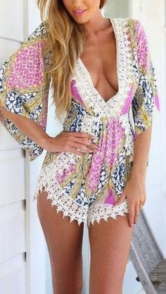 Pink Boho Printed Half Sleeves Lace Romper from Hello Styles. Saved to Rompers + Jumpsuits. Moda Outfits, Cute Outfits, Dress Outfits, Fashion Moda, Womens Fashion, Girl Fashion, Fashion Tag, Fashion 2015, Summer Styles