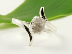 Oval Shape Rough Diamond Ring on Silver - Engagement Ring - Promise Ring - Conflict Free White Silvery Stone