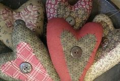 Primitive Calico Hearts ~Set of 5~ from Primitives by Kathy