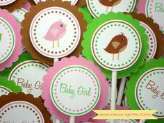 Baby Shower Cupcake Toppers  Personalized Bird by HRCelebrations, $12.00