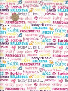 Barbie Words Mattel Licensed Fabric from VIP Cranston, Fabric by the Yard by LaCreekBlue on Etsy