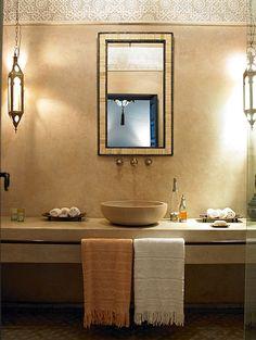 Exceptional property for sale : Top boutique riad hotel in Marrakech (Morocco, Marruecos, Maroc) Stone Bathroom, Bathroom Spa, Bathroom Interior, Moroccan Mirror, Moroccan Bathroom, Moroccan Lanterns, Moroccan Rugs, Best Riads In Marrakech, Riad Marrakech