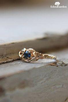 Sapphire engagement ring, branch ring, 14K yellow gold, wedding ring, leaves ring, proposal ring, gold promise ring, unique engagement ring #GoldJewelleryWedding