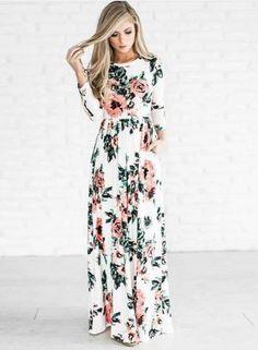 #Valentines #AdoreWe #Oasap.com - #oasap Boho Floral Long Sleeve Maxi Dress - AdoreWe.com