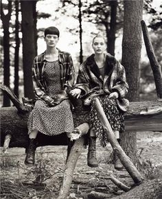 """""""Grunge and Glory"""" Kristen McMenamy, and Nadja Auermann photographed by Steven Meisel Vogue US December 1992."""