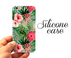 Tansparent case with tropic flowers print for iPhone 6, iPhone 6S, iPhone 6s Plus, iPhone 6 Plus, iPhone SE, iPhone 5/5S, iPhone 4/4S