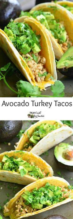 Avocado Turkey Tacos. Delicious turkey tacos packed with veggies, avocado, and served in a cheesy double taco shell.