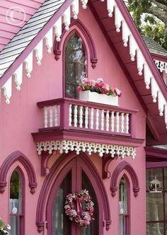 Victorian Cottage, Victorian Homes, Cozy Cottage, Cottage Style, Cottage Homes, Porches, Oak Bluffs, Fairytale Cottage, Pink Houses