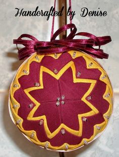 Grandmother's Quilt ~ Washington Redskin colors ~~ Quilt looking fabric ornament made by Handcrafted by Denise