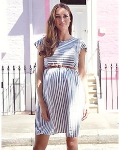 Seraphine s Cotton Stripe Maternity   Nursing Dress is a feminine choice  for before 5902b135aa3