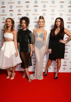 All dolled up: Jade Thirlwall, Leigh-Anne Pinnock, Perrie Edwards and Jesy Nelson refused to smile as they hit the red carpet with conviction Jesy Nelson, Perrie Edwards, Little Mix Outfits, Little Mix Girls, Litte Mix, Mixed Girls, Shows, Sheer Dress, Formal Dresses