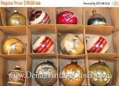 25% OFF SALE Vintage Mercury Glass Christmas Ornaments Hand Painted Frosted Stripes Indent Teardrop in Box Mixed Lot of 12
