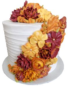 6 inch round party celebration cake, iced in vanilla buttercream and decorated with an assortment of fall colored buttercream flowers Buttercream Flowers, Buttercream Cake, Birthday Cake With Flowers, Birthday Cakes, 2nd Birthday, Birthday Ideas, Mothers Day Cake, Retirement Cakes, Fall Cakes