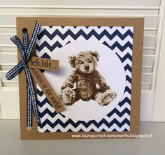 """- """"Baby Bear"""", Stampin' Up! Baby Boy Cards, Baby Shower Cards, Card Making Inspiration, Making Ideas, Bear Card, Animal Cards, Handmade Birthday Cards, Baby Kind, Handmade Baby"""